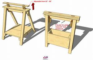 141 Folding Adjustable Sawhorse - 3D Woodworking Plans