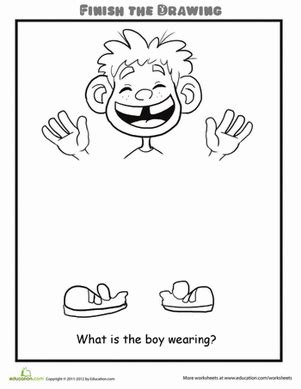 finish  drawing    boy wearing worksheet