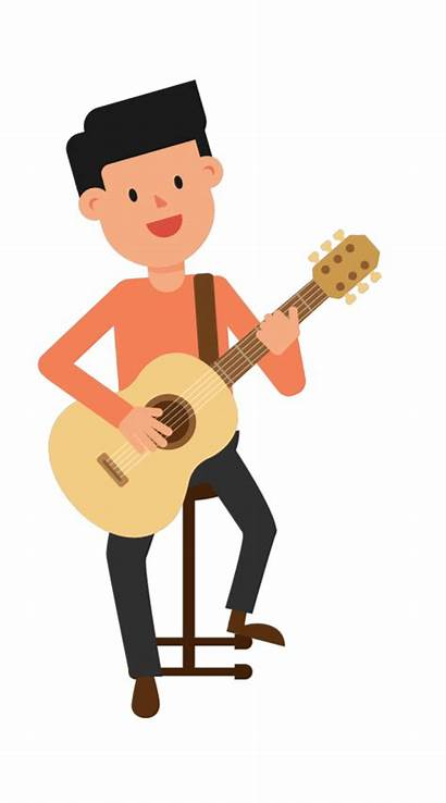 Animation Clipart Guitar Playing Sitting Transparent Backgrounds