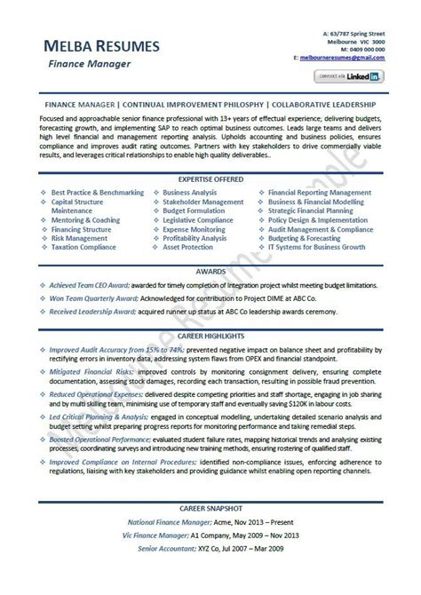 finance manager resume exle template director sle