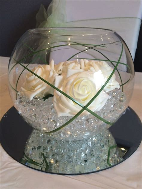 ivory  green simple  elegant fish bowl wedding