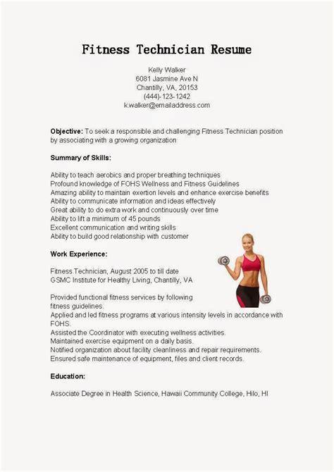 resume sles fitness technician resume sle