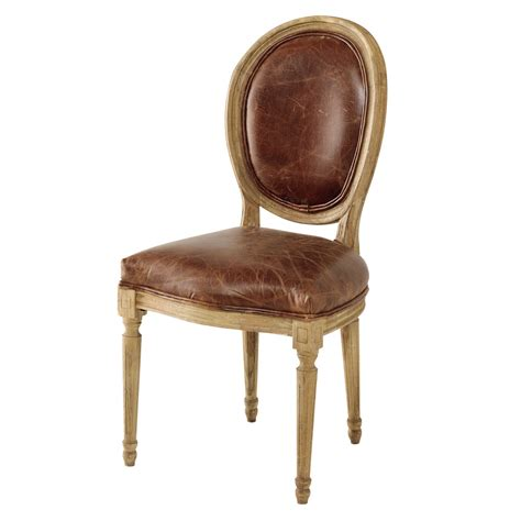 chaises cuir chaise médaillon en cuir et chêne massif marron louis