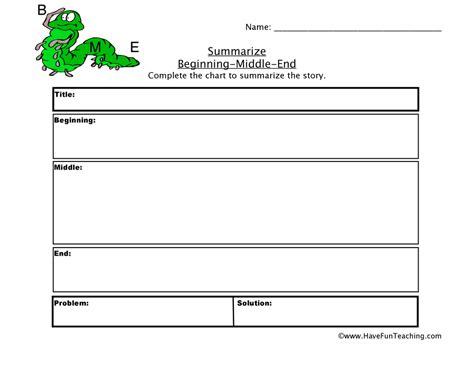 beginning middle end worksheet teaching