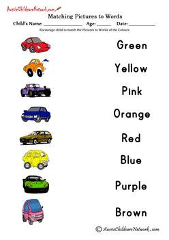 match colors  words  website  awesome worksheets