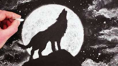 Howling Wolf Moon Drawing Painting Draw Easy