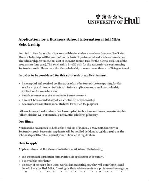 aplication leter for mba scholarship sle scholarship application essay 6 exles in word