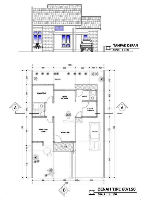 ide contoh desain  denah rumah minimalis type