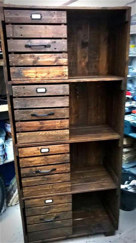 pallet chest  drawers bookcase cabinet diy pallet