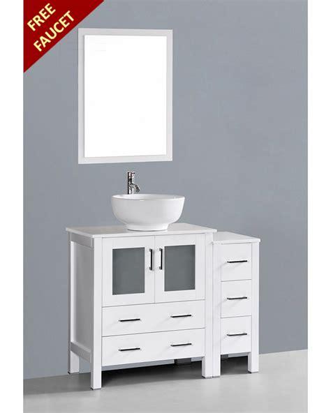 round vessel sink vanity white 42in round vessel sink single vanity by bosconi