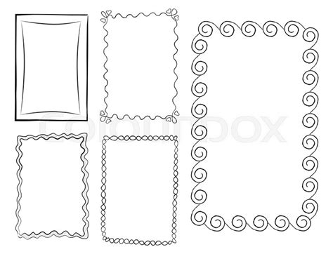 hand drawn  frames vector set stock vector
