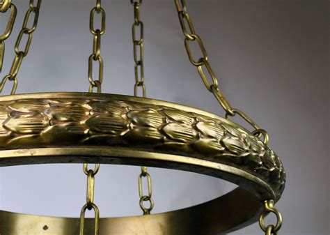 ring chandelier five light brass ring chandelier with quezal shades