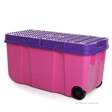 Plastic Garage Storage Cabinets Uk by 90l Funky Tough Box On Wheels 4 Pack Plastic Box Shop