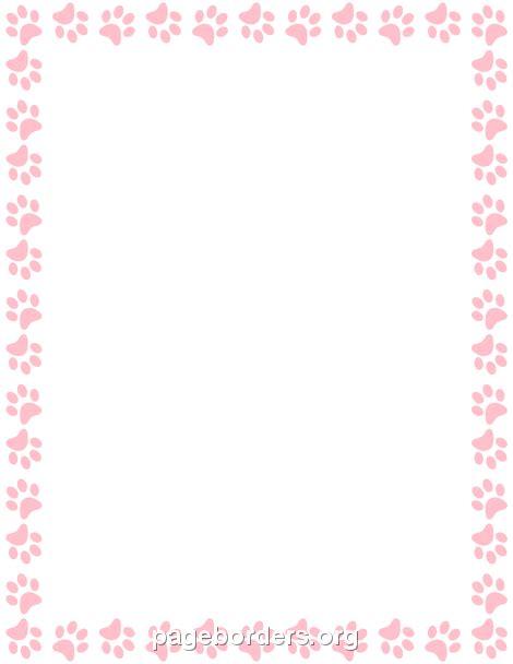 pink paw print border clip art page border  vector