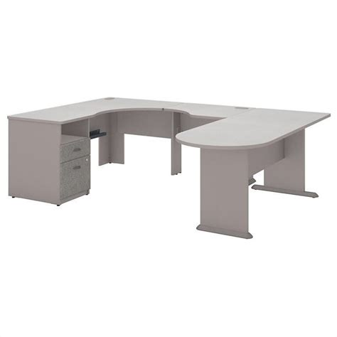 computer desk workstation table expandable u shaped in pewter white spectrum