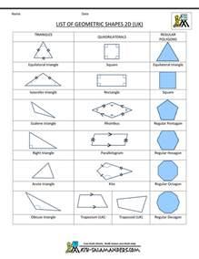 Printable List of Geometric Shapes 2D