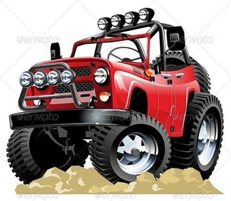 jeep cartoon offroad vector cartoon jeep buses train illustration and vector