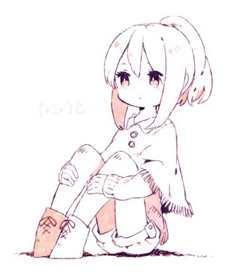 anime chibi sitting a slightly chibi anime sitting with knees up as