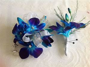 Matching blue orchid boutonnière and corsage #prom # ...