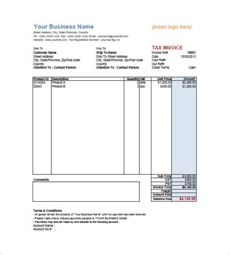 tax invoice templates word excel  templates