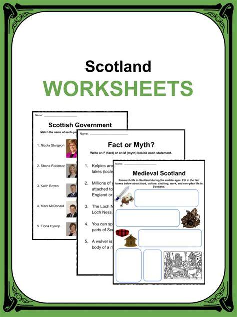 scotland facts worksheets information  kids