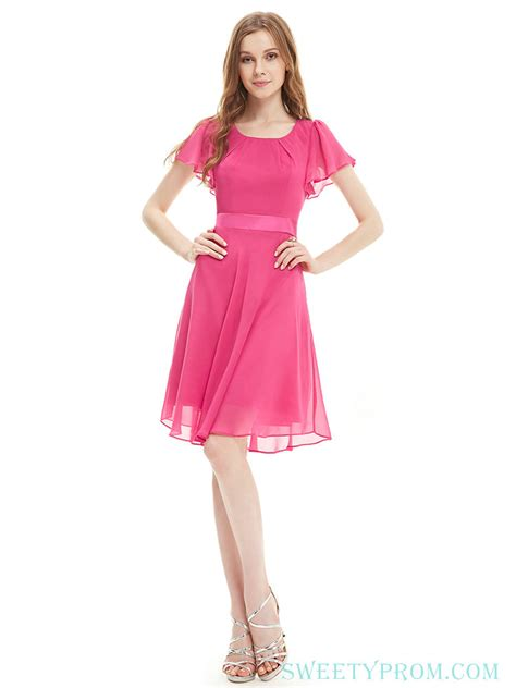 chiffon high neck short sleeves pink bridesmaid dresses