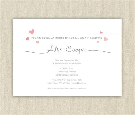 bridal shower invitations or bachelorette party simple