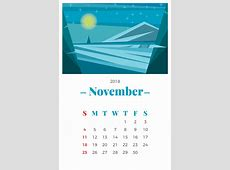 November 2018 Monthly Calendar Download Free Vector Art
