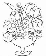 Coloring Flowers Vase Flower Printable Popular sketch template