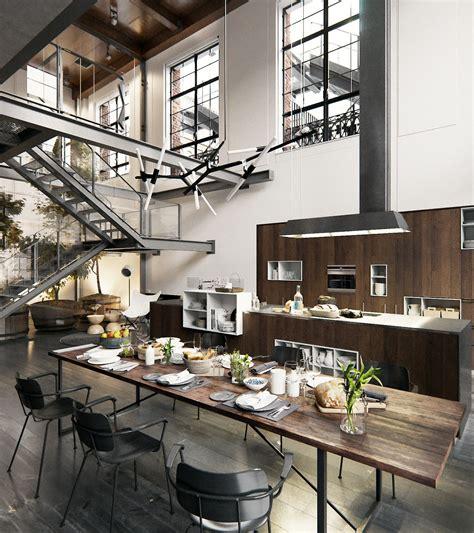 york loft kitchen industrial  loft living loft