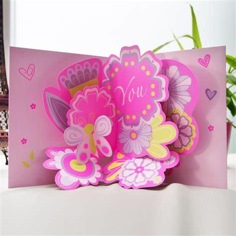 爱贺卡 鲜花创意送女友闺蜜小礼品 大立体音乐生日贺卡片手绘
