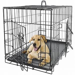 Oxgord 24quot pet kennel cat dog folding steel crate animal for Dog doors for sale