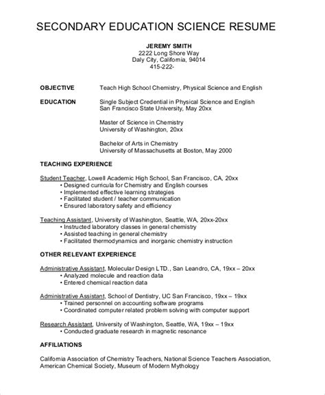 resume high schol science teacher sle high school resume 8 exles in word pdf