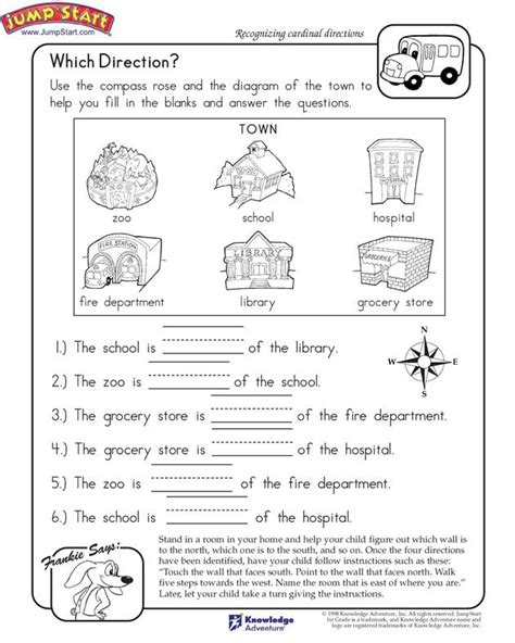 which direction printable worksheet for k 821 | 32828fbd34ceab15500ae8107f5f1954 kindergarten social studies social studies activities