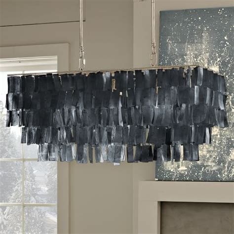 large rectangle hanging capiz chandelier gray west elm