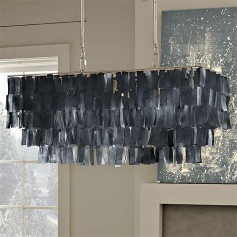 large rectangle hanging capiz chandelier gray west elm