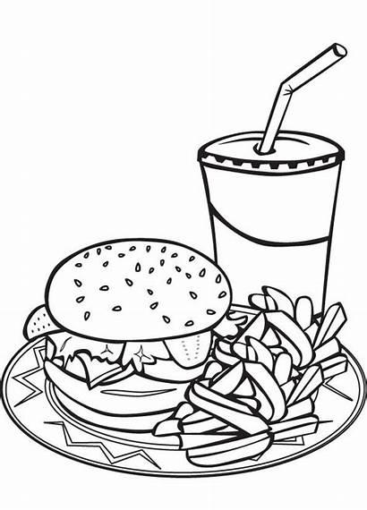 Coloring Fries Pages Burger Drawing Hamburger Clipart