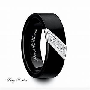 mens wedding bands engagement ring black tungsten ring With tungsten mens wedding rings