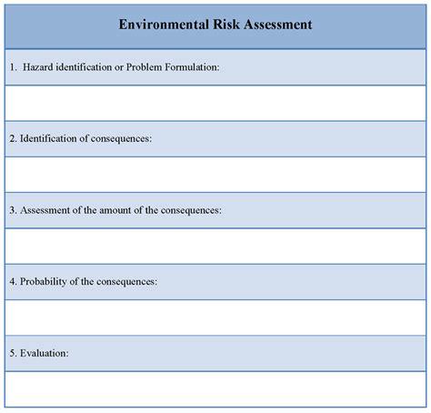 Risk Assessment Template Assessment Template For Environmental Risk Format Of