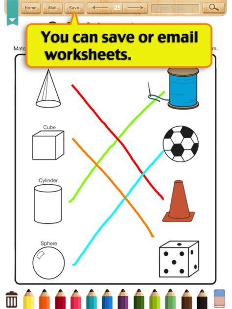 worksheets  kindergarten math shapes
