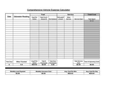Free Printable Vehicle Expense Calculator  Calculator And