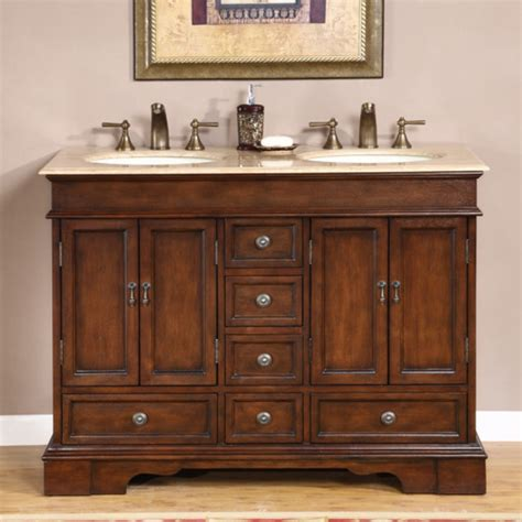 small double sink vanity  antique brown