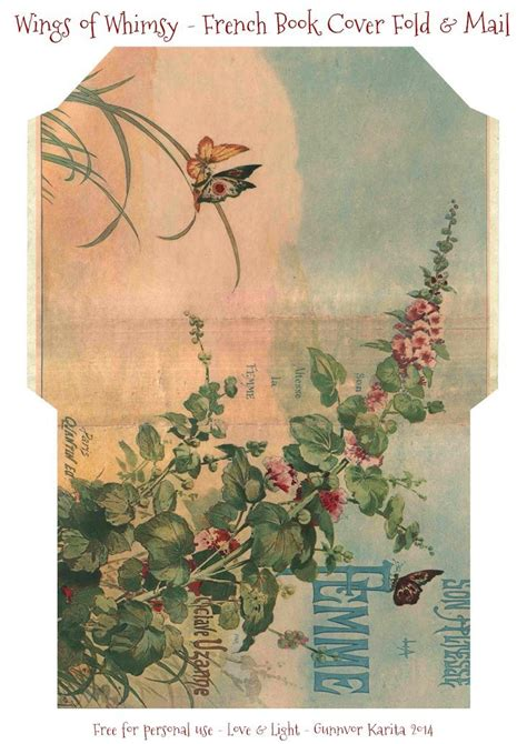 french book cover fold mail stationery envelope art