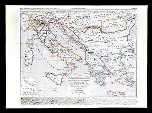 1849 Houze Map Ottoman Empire Turkey Greece Italy Naples ...