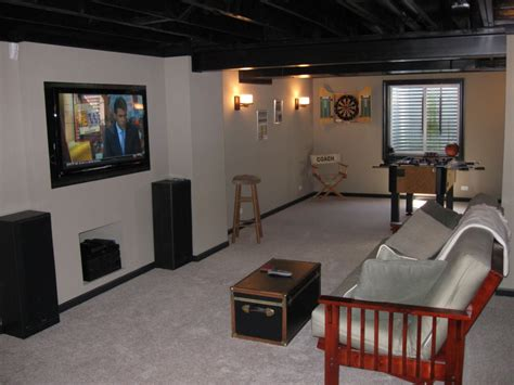 diy finished basement notice how painting ceiling beams