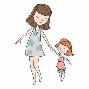 Mom and dauther walking cartoon - Transparent PNG & SVG vector