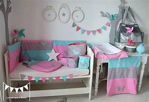 dcoration chambre bb fille rose turquoise gris toiles pois With chambre bébé design avec livraison fleurs jour mϪme