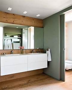 double vasque grand miroir mur de bois et porte With porte de douche coulissante avec meuble bois double vasque salle de bain