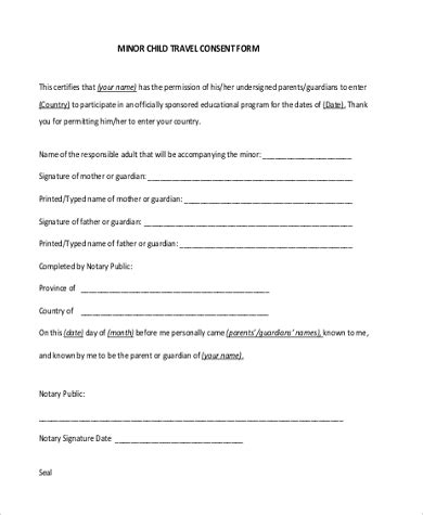 sample travel consent form   documents