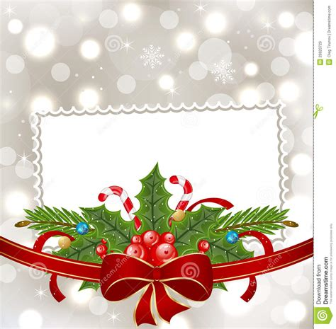 christmas elegant card with holiday decoration stock